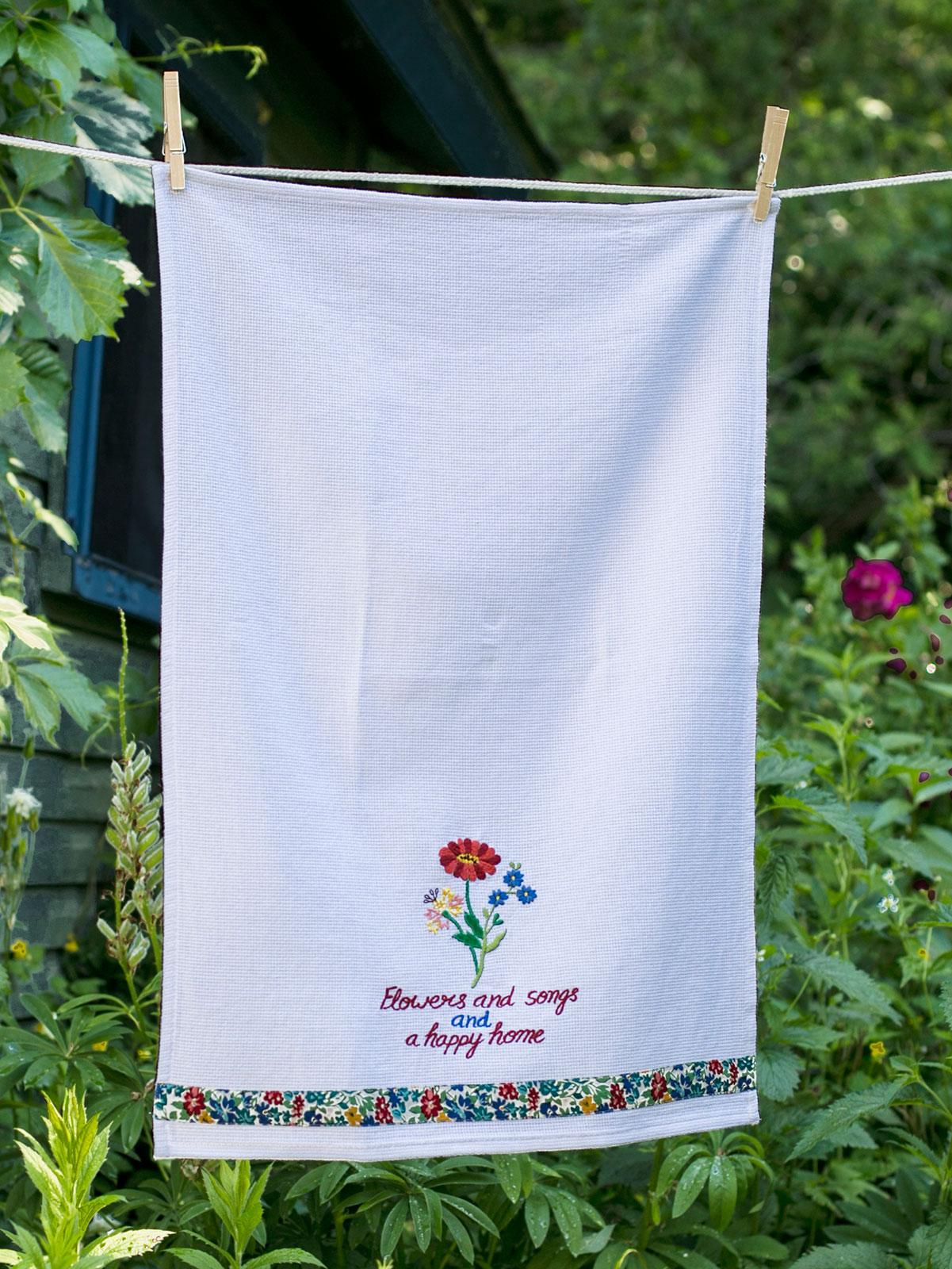 Patty's Picnic Embroidered Tea Towel