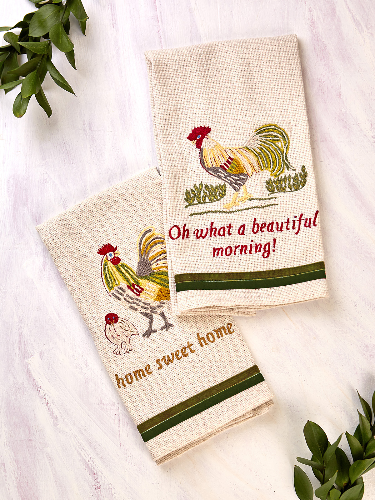 Rooster Embroidered Tea Towel Set of 2
