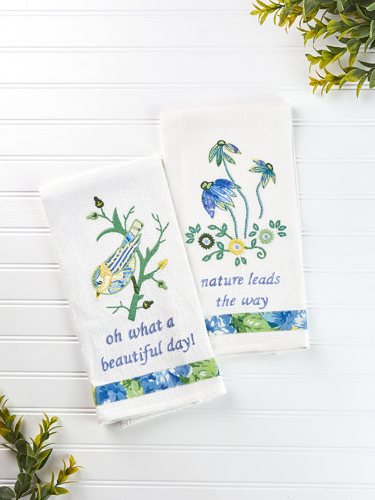 Bird Embroidery Tea Towel Set of 2