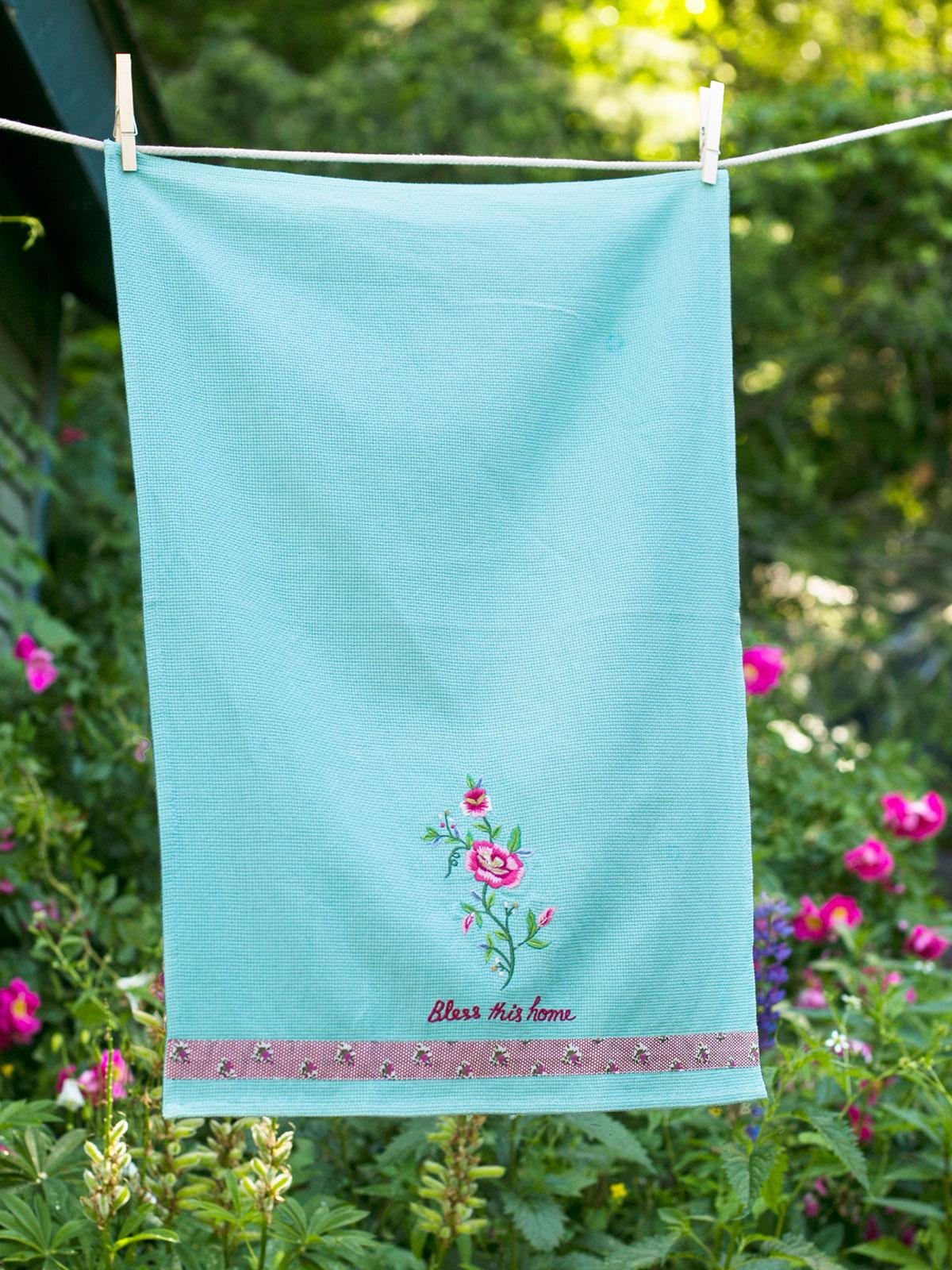 Tea Rose Embroidered Tea Towel