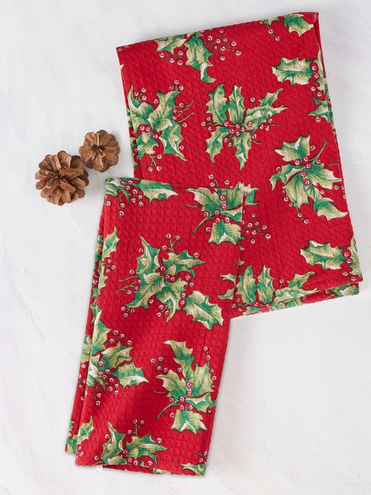 Holly Tea Towel S/2
