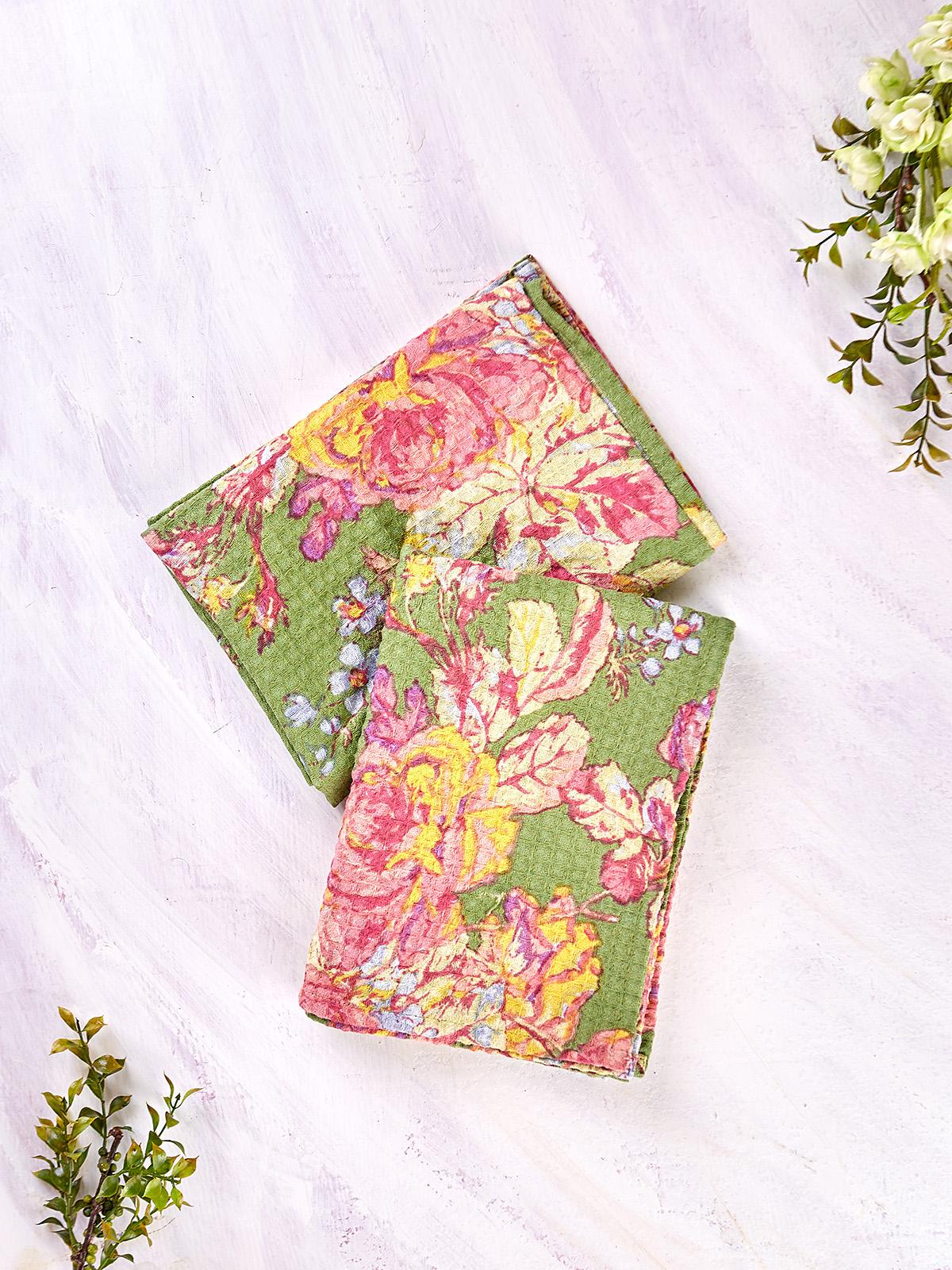Victorian Rose Honeycomb Tea Towel Set of 2