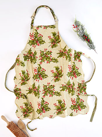 Holly Cream Apron