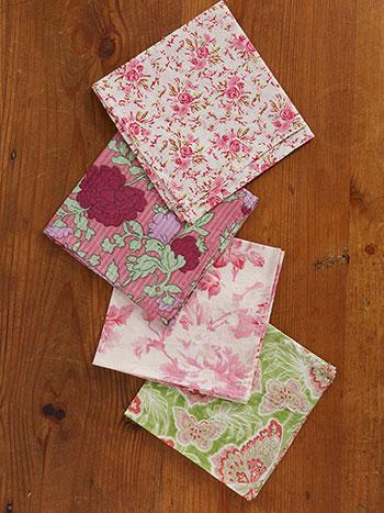 Pink Garden Hanky Set