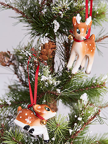 Tinsel Town Deer Ornaments Set of 2