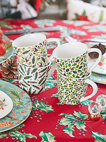 Christmas Botanical Porcelain Mugs Set of 4
