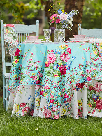 Cottage Rose Aqua/Ecru Table Bundle