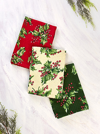 Holly Patchwork Tea Towel Bundle