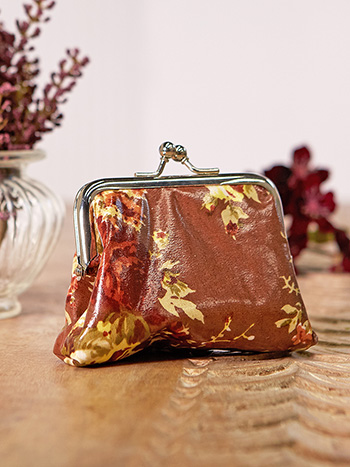 Cottage Rose Oil Cloth Coin Purse