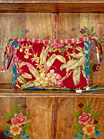 Cranberry Cocktail Patchwork Knitters Bag