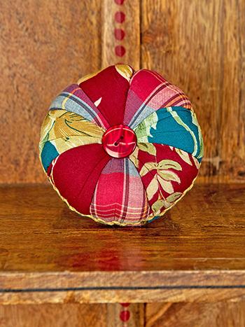 Cranberry Cocktail Patchwork Pinwheel Pin Cushion