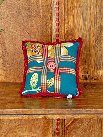 Cranberry Cocktail Patchwork Square Pin Cushion