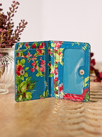 Cottage Rose Oil Cloth ID Wallet