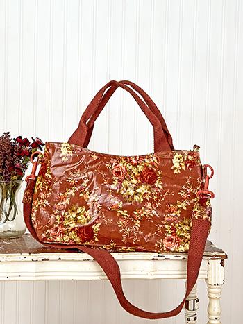 Cottage Rose Oil Cloth Moon Bag