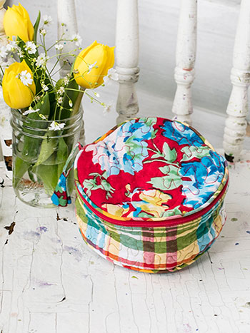 Primary Patchwork Round Cosmetic Bag