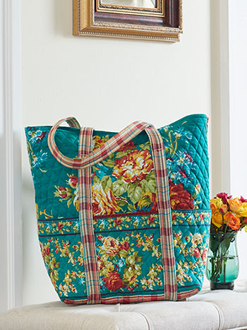 Cottage Rose Quilted Tote