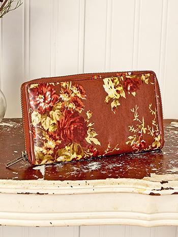 Cottage Rose Oil Cloth Zip Wallet