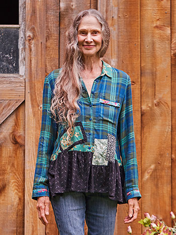 Pine Plaid Patchwork Blouse