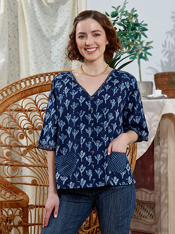 Indigo Bloom Blouse