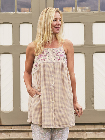 Cottage Check Long Camisole