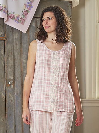 Rosy Linen Check Camisole