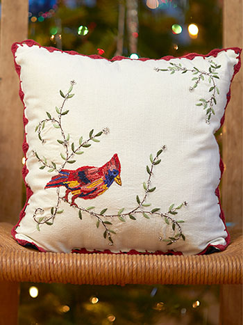 Cardinal's First Frost Embroidered Cushion
