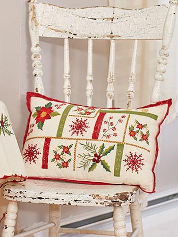 Christmas Sampler Embroidered Cushion