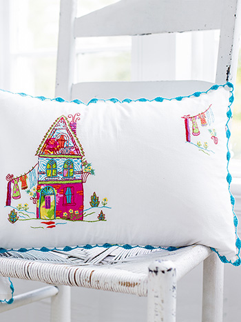 Fiesta Garden House Embroidery Cushion