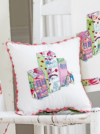 Spring Bouquet Village Embroidery Cushion