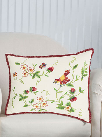 Strawberry Embroidered Cushion