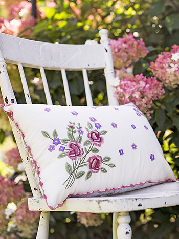 Tea Rose Embroidery Cushion