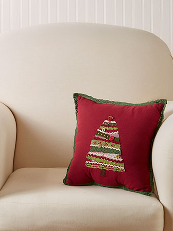 Village Tree Embroidered Cushion