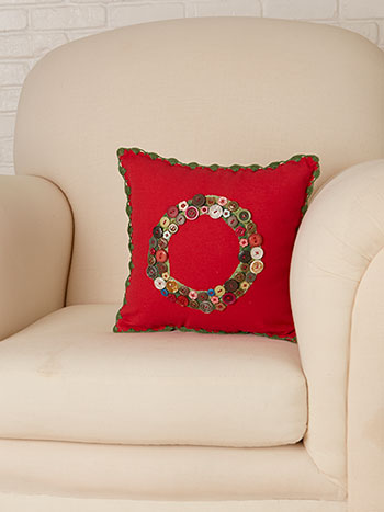 Wreath Embroidered Cushion