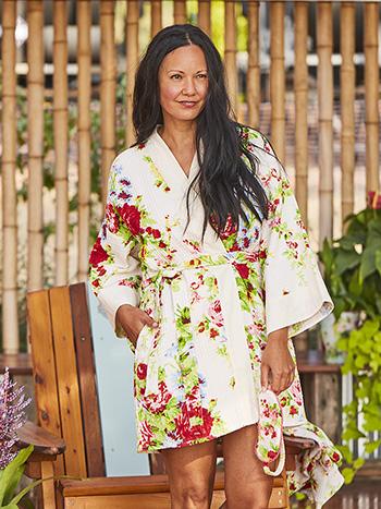 Cottage Rose Honeycomb Kimono