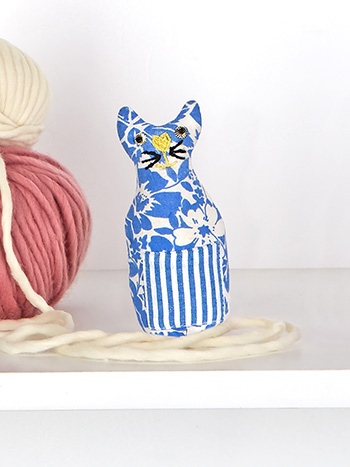 Fairground Patchwork Cat Pin Cushion