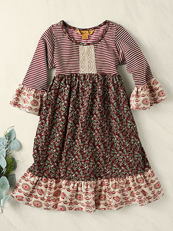 Rosebud Patchwork Girls Dress