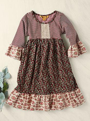 Rosebud Patchwork Girls Dress