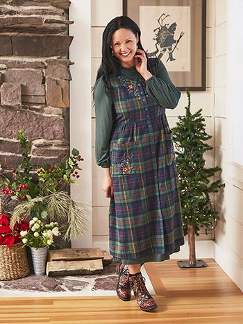 Highland Plaid Pinafore Dress