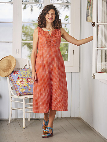 Persimmon Twist Pleat Dress