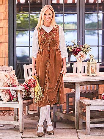 Olivia Velvet Pinafore Dress