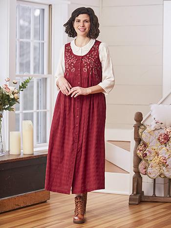 Sharon Seersucker Pinafore Dress