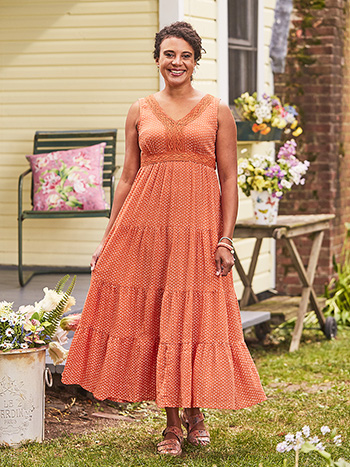 Persimmon Dot Hostess Dress