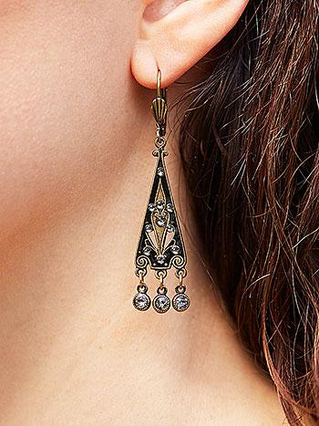 Classic Black Deco Earrings