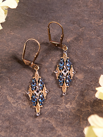 Marquis Blue Filigree Earrings