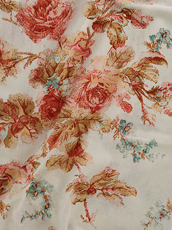 Victorian Rose Hopsack Fabric by the Yard
