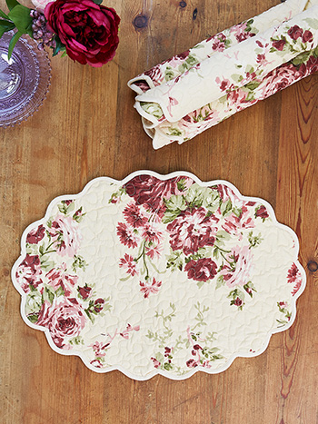 Cottage Rose Quilted Mat Set of 4
