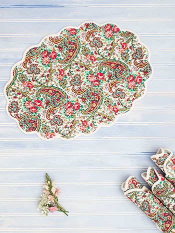 Garden Paisley Quilted Placemat Set of 4