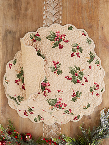 Holly Berry Quilted Placemat Set of 4