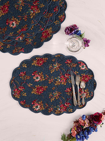 Wild Rose Quilted Placemat Set of 4