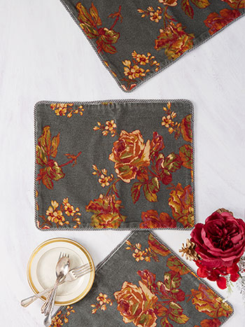 Victorian Rose Velvet Single Placemat
